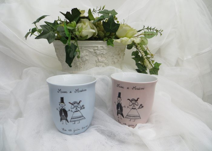 Cadeau de mariage. Duo de mugs.